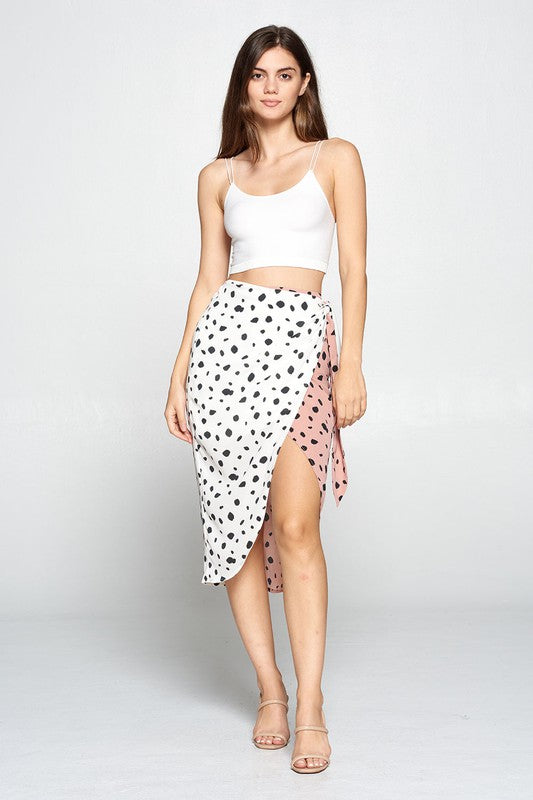 Print Blocked Wrap Tie Skirt