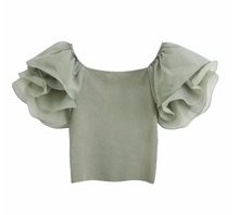 Light Sage Crop Top
