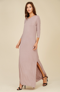 Taupe Maxi Dress with High Slit