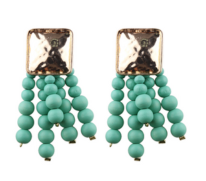 Thai Teal Handmade Beads Earrings
