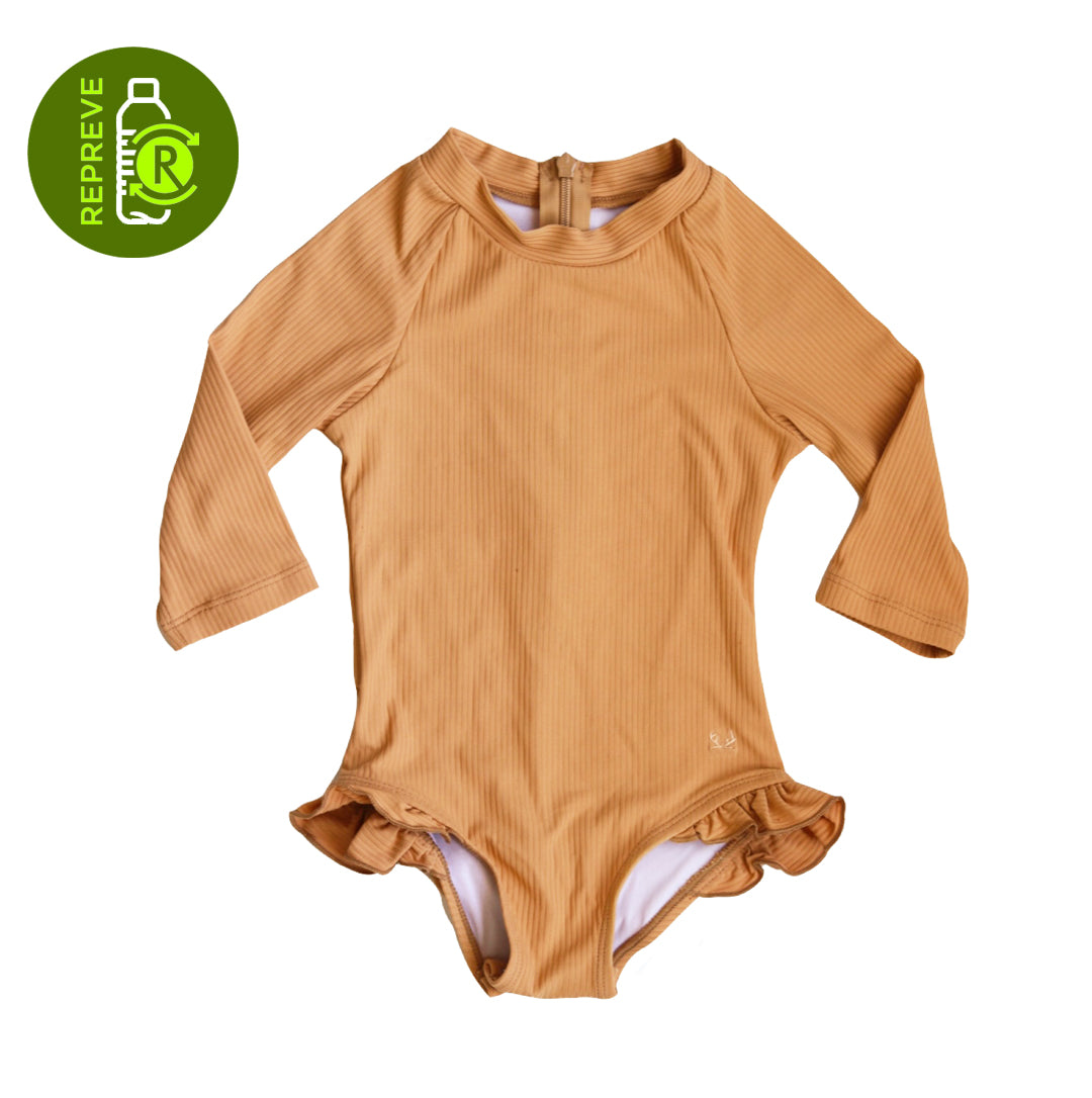Ribbed Ruffle Rashie Suit - Golden Brown