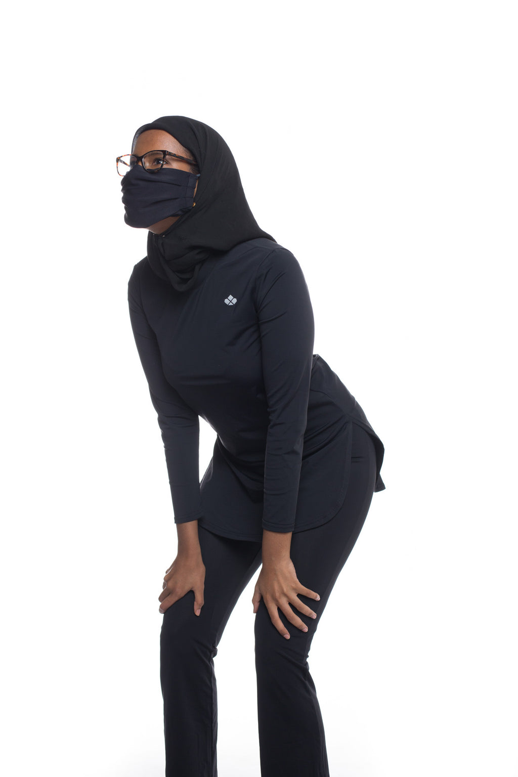 The Recycled Gym to SwimSet Top+Bottoms+ActiveMask-Black