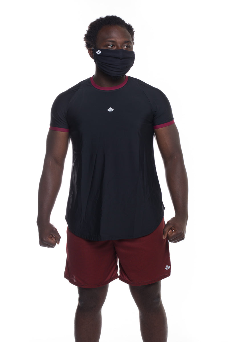 Recycled Functional T-Shirt -Black/Maroon