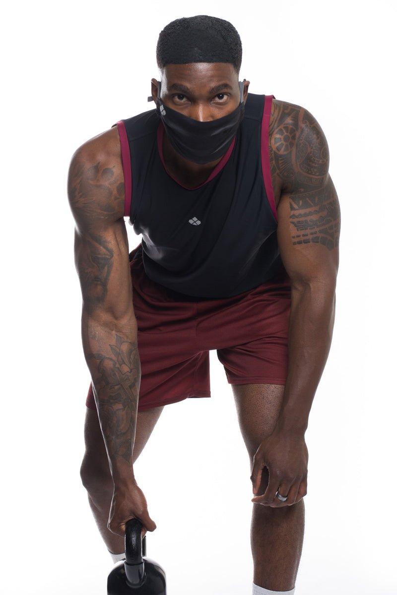 Recycled Functional Tank -Black/Maroon