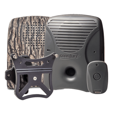 Discreet Neighbor Pack – Pictured: Dog Silencer® with its included remote, a tree-bark pattern faceplate, and a wall mount