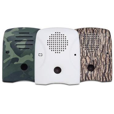 Dog Silencer's lineup of faceplates – tree-bark, camouflage, and matte-white (great for painting!)