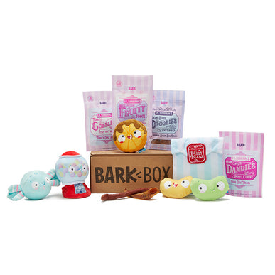 A candy-themed BarkBox and it's selection of dog toys and treats.
