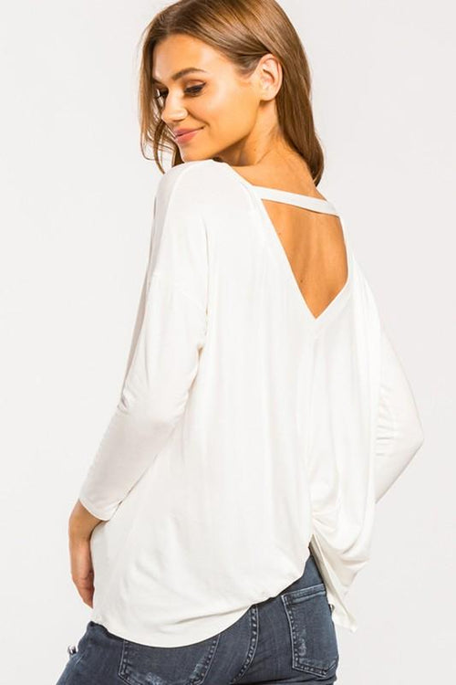 Cherish - Round Neck Back Twist Top (White)