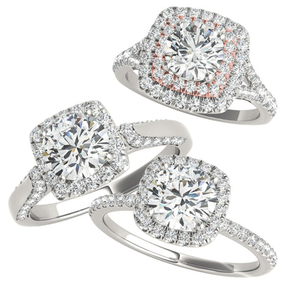 white gold diamond halo engagement rings