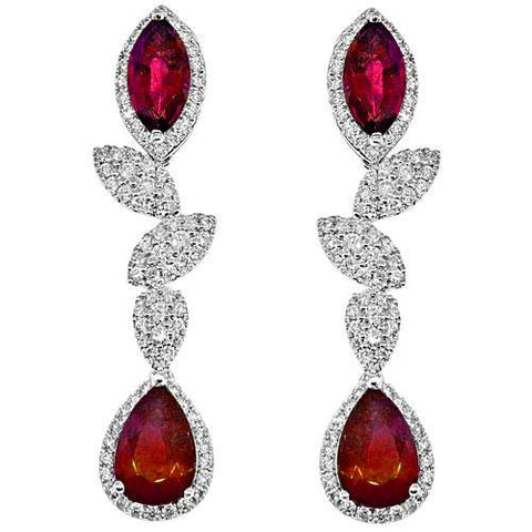 ruby and diamond dangling earrings