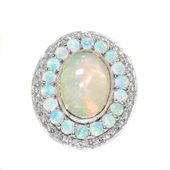white gold opal and diamond cocktail ring