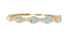 yellow gold opal and diamond bangle bracelet