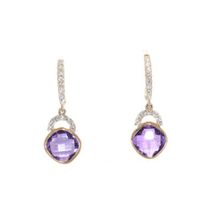 yellow gold amethyst and diamond drop earrings