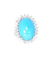 white gold turquoise and diamond ring