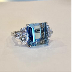 custom design aquamarine and diamond ring