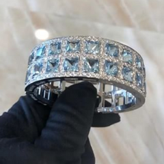 aquamarine and diamond cuff bracelet boca raton