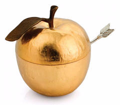 Michael Aram gold apple honey pot