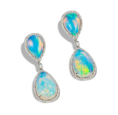 opal and diamond dangling earrings