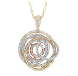 tri color diamond swirl pendant