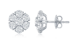 white gold diamond cluster stud earrings