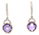 yellow gold amethyst and diamond earrings