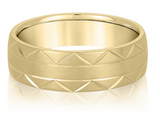 yellow gold carved mens wedding band