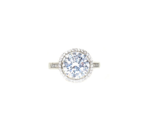 sterling silver round cut CZ halo engagement ring