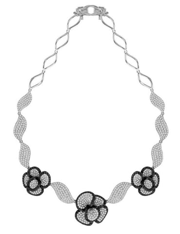 white gold black and white diamond flower necklace