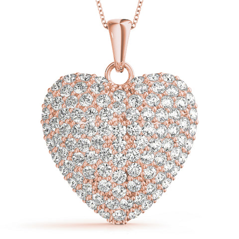 rose gold diamond heart pendant