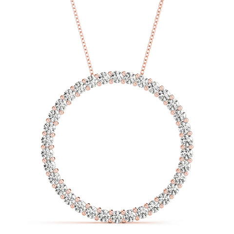 rose gold diamond circle pendant