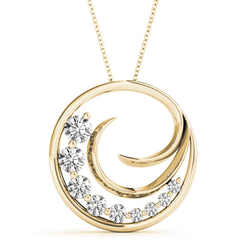 yellow gold diamond journey pendant