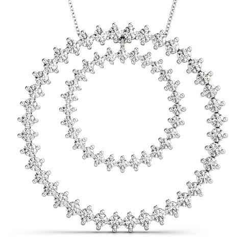 platinum double circle diamond pendant