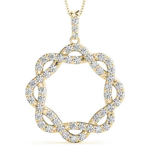 yellow gold twisted circle diamond pendant