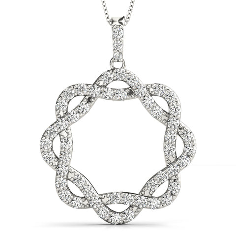 white gold twisted circle diamond pendant