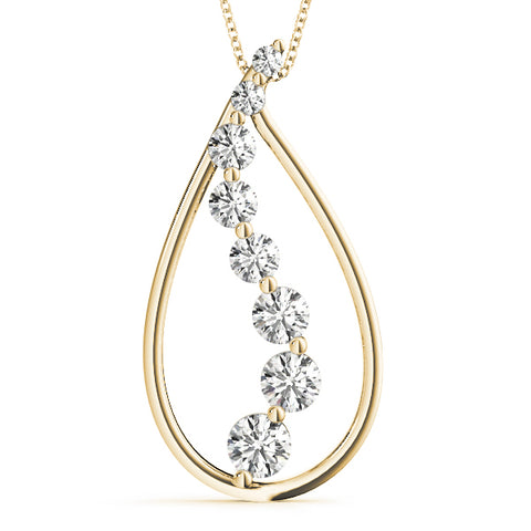 yellow gold diamond journey drop pendant