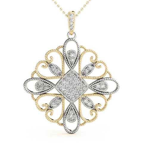 two tone diamond statement pendant