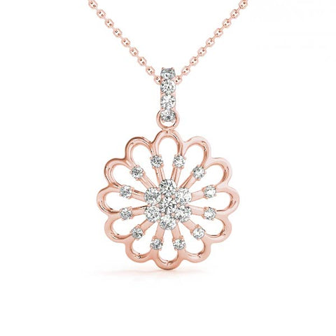 rose gold diamond flower fashion pendant