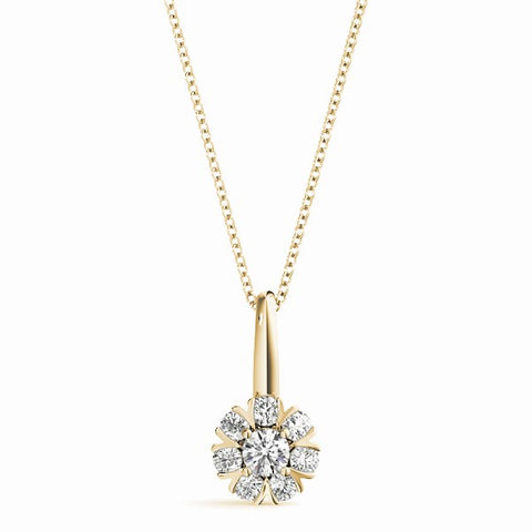 yellow gold diamond cluster flower pendant