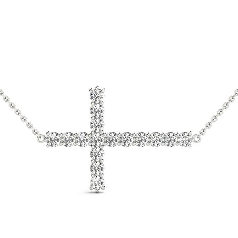 white gold diamond side cross pendant