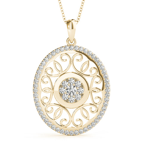 yellow gold diamond cluster pendant