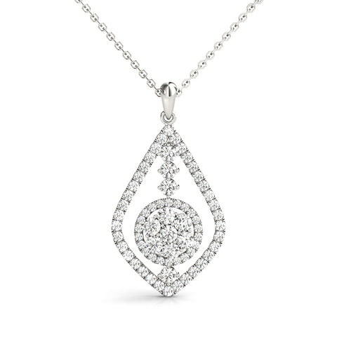 white gold diamond drop fashion pendant