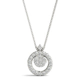 platinum diamond cluster circle pendant