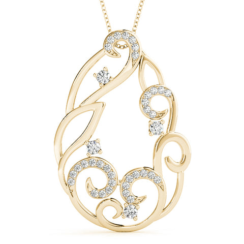 yellow gold diamond swirl pendant
