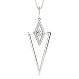 white gold triangular diamond pendant