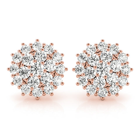 rose gold diamond cluster earrings