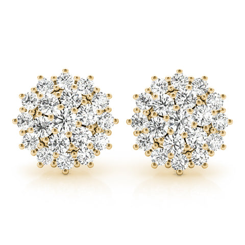 yellow gold diamond cluster earrings