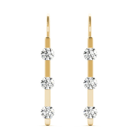 yellow gold three stone diamond drop earrings