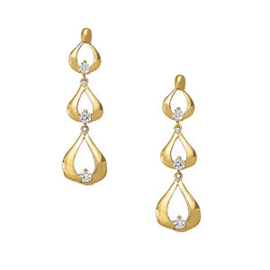 yellow gold tear drop diamond earrings