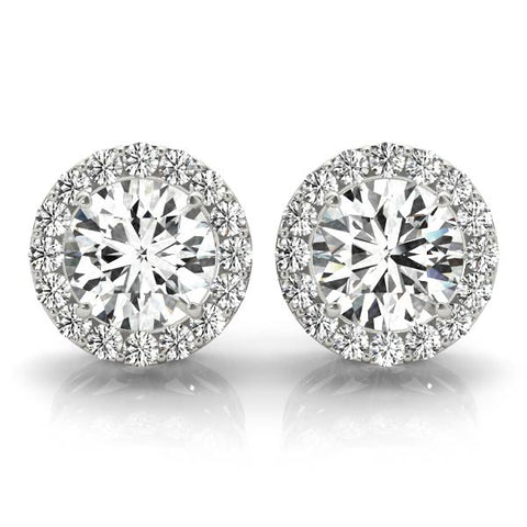 white gold diamond halo earrings