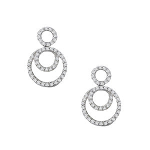 white gold circle drop diamond earrings